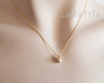 Tiny Gold Drop Necklace - Minimalist Necklace - Delicate Necklace - Gift for Her