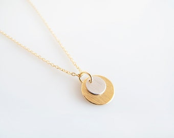 Tiny Gold Silver Discs Necklace - Gift for Her - Minimalist Necklace