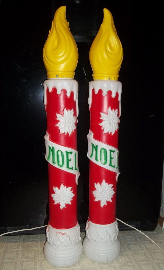 Vintage pair of 1973 empire 38 noel candle christmas for Outdoor christmas candles