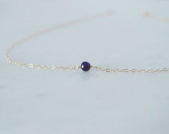 Blue Sapphire Necklace, Simple Necklace, Dainty Necklace, 14k Gold Filled, LIJ14017