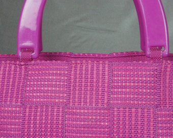 Made in Italy, hot pink handbag, mint vintage bag, woven pink purse, 80's hot pink bag, plastic handle bag, vintage purse.
