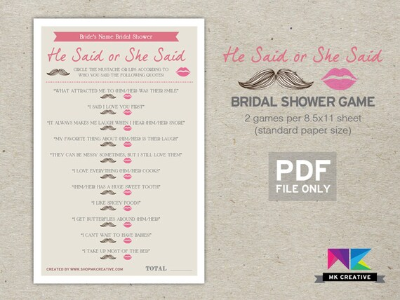 Personalized bridal shower game he said she by for He said she said bridal shower game template