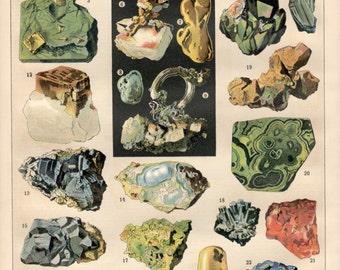 Minerals, 1897 Antique Print, Vintage Lithograph, Mineralogy Poster, Precious Stones Print, Pyrite, Fool's Gold, Quartz, Gold Nugget, Silver