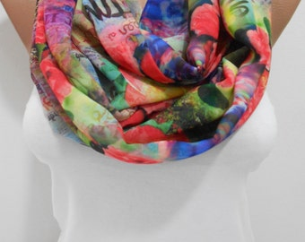 Spring Infinity Scarf Rose Scarf Books Loop Scarf Circle Scarf Easter Floral Scarf Women Fashion Accessories Mothers Day Gift Ideas For Her
