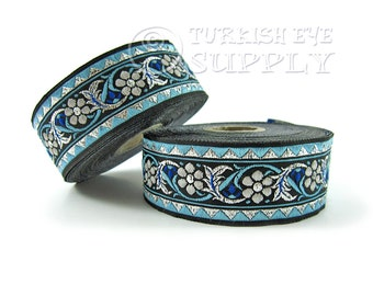 Floral Woven Border Embroidered Ribbon Sewing Trim Silver Black Blue Jacquard Ribbon 1 Meter ( 1.09 Yards, 3.3 feet )