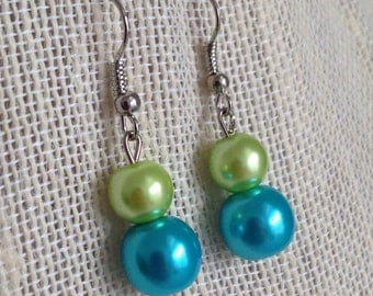 Turquoise and Lime Green Bridesmaid Wedding Jewelry Beach Wedding Turquoise Pearl Earrings Bridesmaid Gift Turquoise Wedding Beaded Jewelry