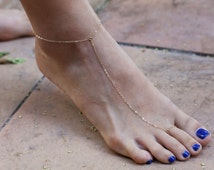 Simple Slave Anklet - toe chain anklet . dainty chain anklet . Sterling silver . Gold filled . foot chain .   EA002