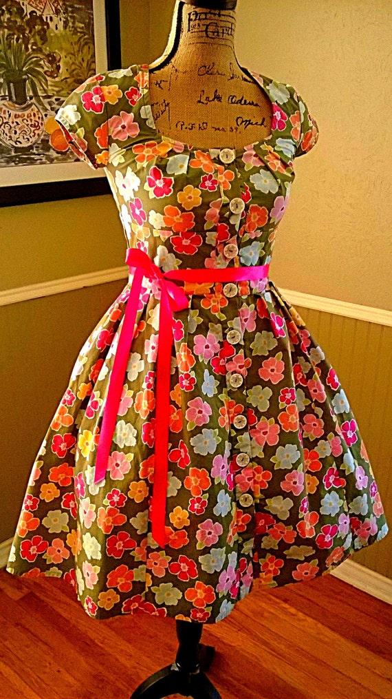 adorable vintage dress cap sleeves tea dress by pussycatalice. Black Bedroom Furniture Sets. Home Design Ideas