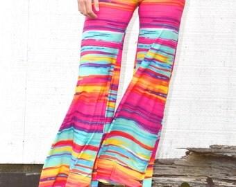 TROPICAL stripe watercolor  palazzo wide leg goucho yoga lounge beach festival summer resort casual bell bottom  pants