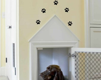dog wall decal - wall art - wall vinyl decals art - Live like the gate was left open with paw prints wall decal