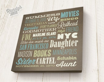 Custom Canvas Word Cloud Art - Personalized House Warming Gift, Birthday Present - Word Art Vintage Typography