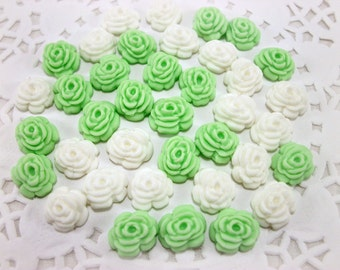 Sugar Flower White Green Fondant Rose Edible Fondant Cake Cupcake Decor Gumpaste Wedding Candy Favor Box, Baby Shower, Flower Decor-set 50