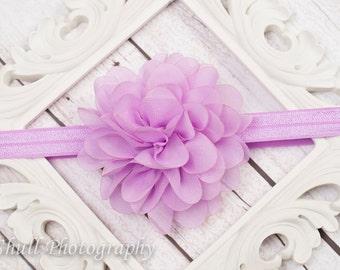 Purple Chiffon headband, Lavender Baby Headband, Flower Girl Headband, Baby Girl Headband, Wedding Purple Headband, Infant Headband