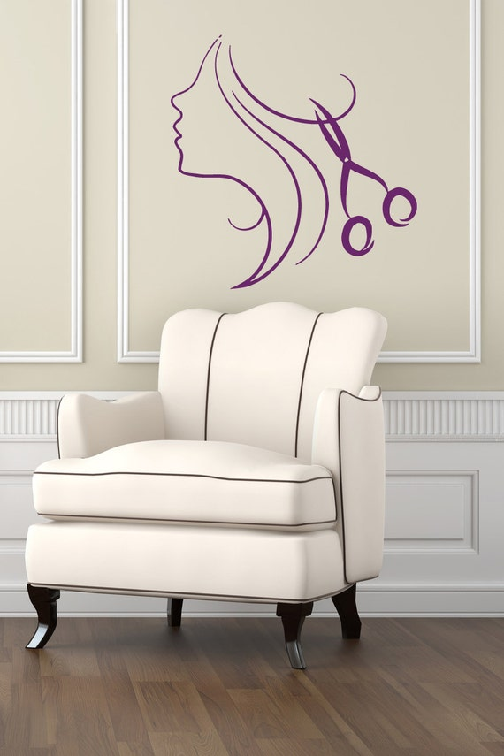 Wall decals girl hair style scissors beauty hair by decalhouse for Stickers salon