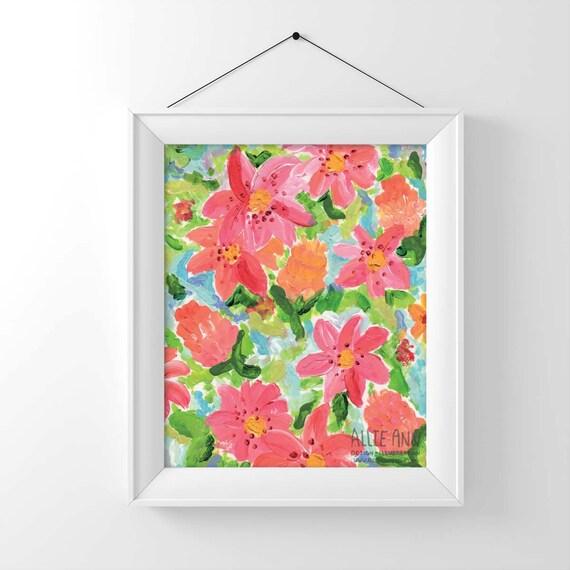 Painted Floral,  art print, illustration, painting, flower
