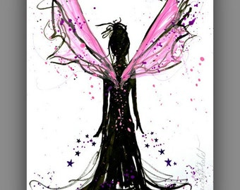 Magical Fairy Art painting, Pink and black Art print for girls room, wall art, Pretty print