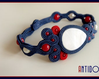 ELEGANT SAILOR Soutache Bracelet with Nacre, Coral and Pearls - Antidotum- Craftwork- Handmade- Soutache Jewellery