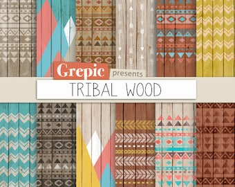 """Tribal digital paper: """"TRIBAL WOOD"""" with aztec patterns and tribal patterns on wood in colorful backgrounds and textures"""