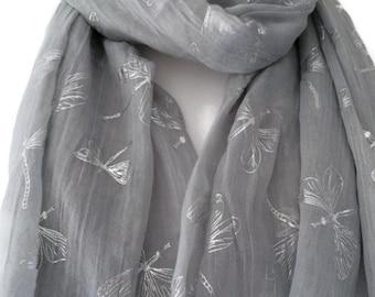 Grey Scarf with Silver Dragonfly Print, Ladies Dragonfly Pattern Wrap Shawl, Gray Scarf