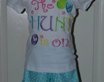 Personalized Easter Egg Hunt Applique Shirt or Onesie Girl or Boy