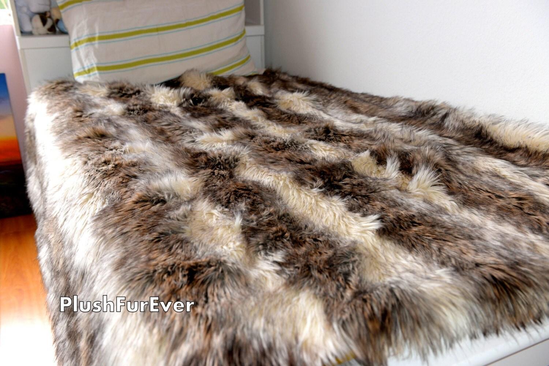 Coyote Faux Fur Twin Queen King Bedding Decor Long Plush Fur