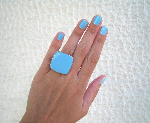 Light blue resin ring, turquoise glass ring, cyan blue aquamarine ring, big chunky square ring, mediterranean summer beach jewelry