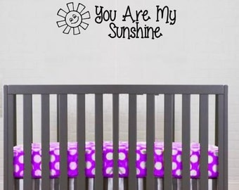 You Are My Sunshine Wall Decal - You are My Sunshine Sign - Happy wall decal  - Young Girls Bedroom - Bedroom Wall Decal - Sunshine Wall
