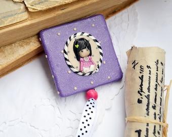 Girl Pocket Mirror Little girl Purple Black White Stripes Cute Bag Mirror Lovely Gift Idea for Her Accessories