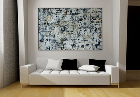 Large original acrylic painting by MARCY CHAPMAN black gold white and gray ~ ready to hang Wall art
