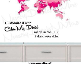 World Map Decal, Childrens World Map Stickers, Map Wall Stickers (WorldmapExtruded_Pink_MINI )