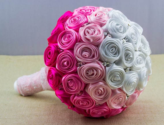 Ombre Pink Bouquet. Pink Wedding Bouquet. Satin Roses Bouquet. Bridal Bouquet.