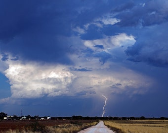 Thunderstorm with Lightning - Rain Storm - Modern - Landscape Photography - Wall Art