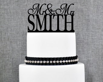 Last Name Wedding Cake Topper, Custom Name Cake Topper, Topper For Wedding, Engagement Cake Topper, Modern Wedding Cake Topper (T005)