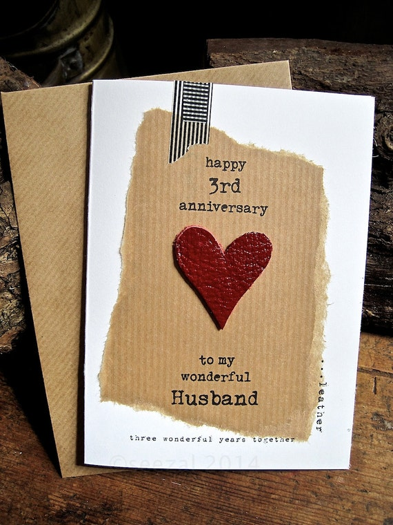 3 Year Wedding Anniversary Gift For Husband : 3rd Wedding Anniversary Three Wonderful Years LEATHER Husband Birthday ...