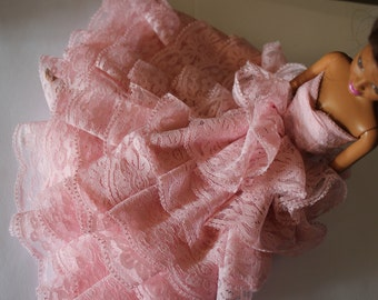 11.5 inch doll clothes,  long pink lace gown (61)
