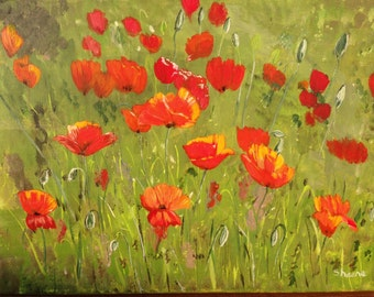 16x12 acrylic painting of poppies with vibrant reds and oranges