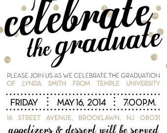 Celebrate the Graduate Gold and Black Graduation Invitation 5x7 (Digital printable file)