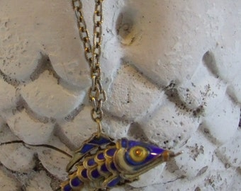 Vintage Chinese Articulated movable Kio Fish Necklace