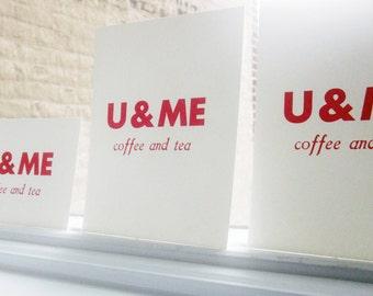 Rubine Red Letterpress Flat Card Print: U & ME coffee and tea