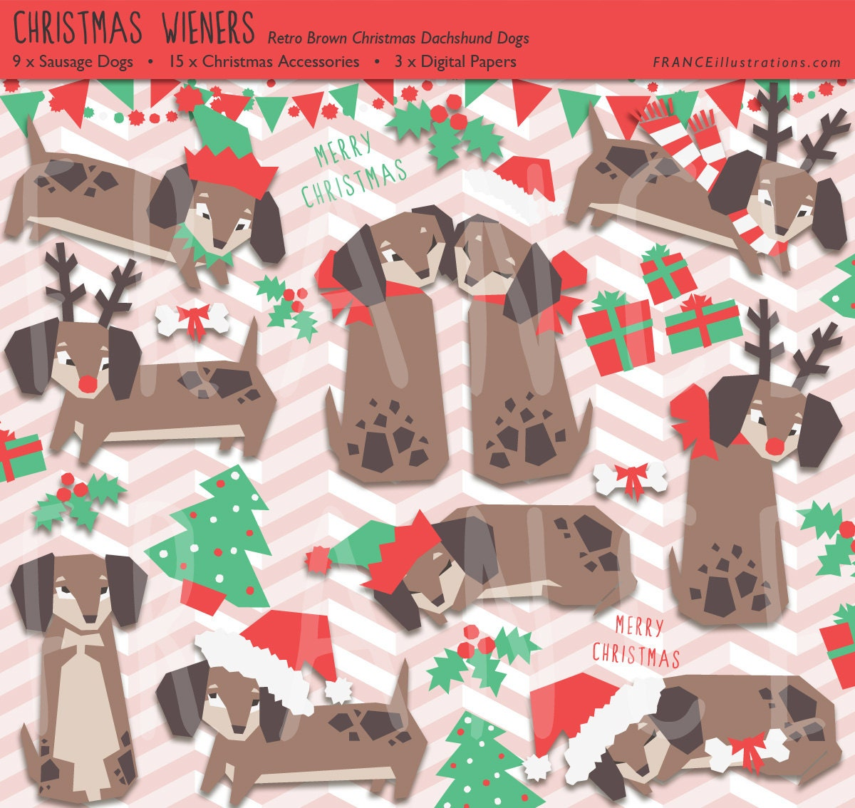Scrapbook paper dogs - Christmas Clip Art Dachshund Sausage Dog Retro Xmas Cute Craft Scrapbook Printable Download Cheap Personal Commercial Use Paper