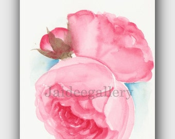 Original watercolor art-Watercolor flower art - 4x6 in - Floral rose painting - Art painting on paper.