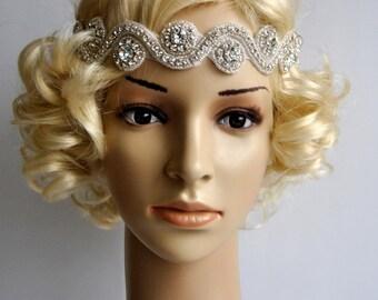 Rhinestone Headband, Wedding Headband, Crystal Headband, Wedding Headpiece, Halo Bridal Headpiece, 1920s Flapper headband