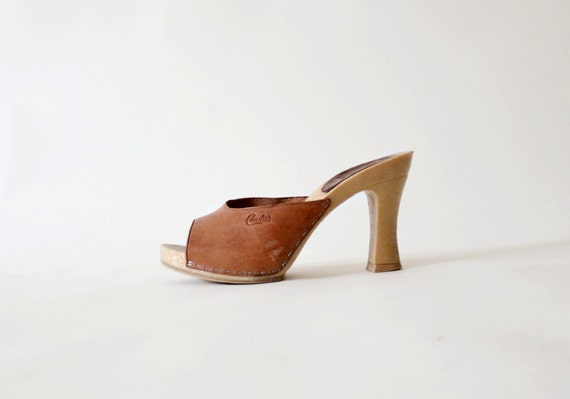 - Candies Open Toe Shoes Brown Leather High Heel Sandals