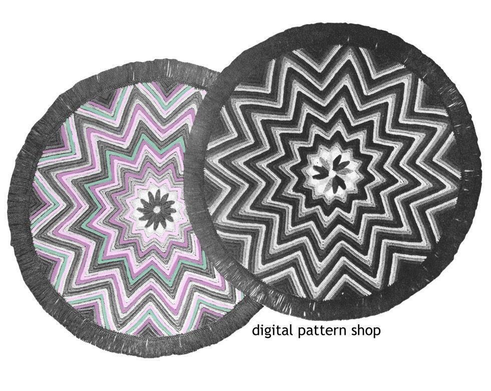Crochet Pattern For Zig Zag Rug : Crochet Rug Pattern 1940s Vintage Round Star Rug Zig Zag Rug