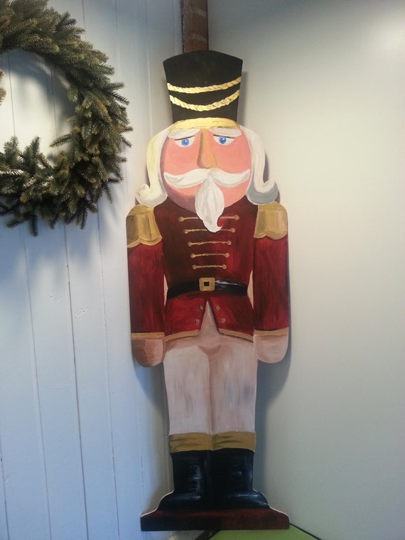Nutcracker soldier handpainted, Wooden soldier for outdoor use, Life size nutcracker, Entry way holiday decor, Christmas tradition decor