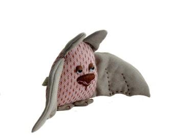 Cute Bat Handmade Soft Toy/  Tweed Bat / Stuffed Animal