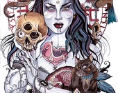 Threnody small Giclee Print - gothic occult tattoo motif inspired art featuring Morgana with skulls and black cat