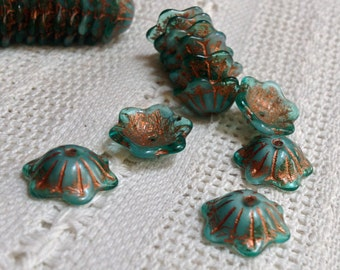 12 or 14 mm Wide Bell Flower Cup Czech Glass Beads - Teal Green/White with Copper Flower Cup - Wide Bellflower - 15 Beads