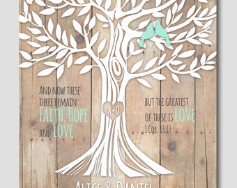 "1 Corinthians 13:13 print, Love Family Tree with Birds, Heart , initials Custom First anniversary Gift 11""x14"""
