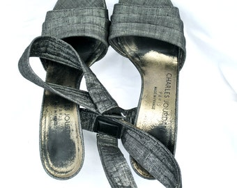Vintage women shoes / vintage stilettos /  CHARLES JOURDAN silver platinum STILETTOS / Designer shoes